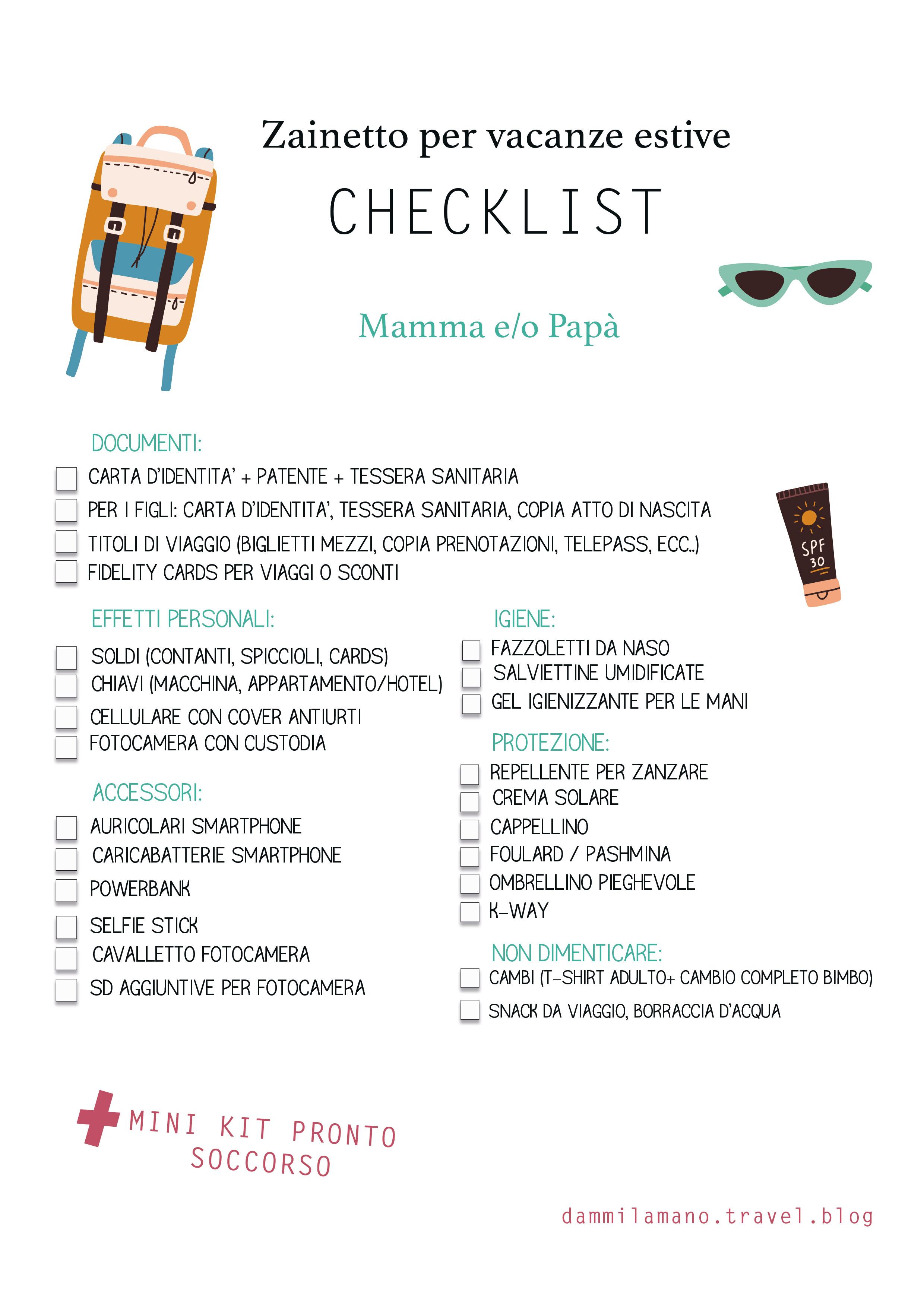 Checklist zainetto per vacanze estive